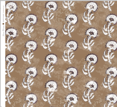 Linen fabric printed with a hand painted floral plant design repeat pattern in taupe on cardamom brown background