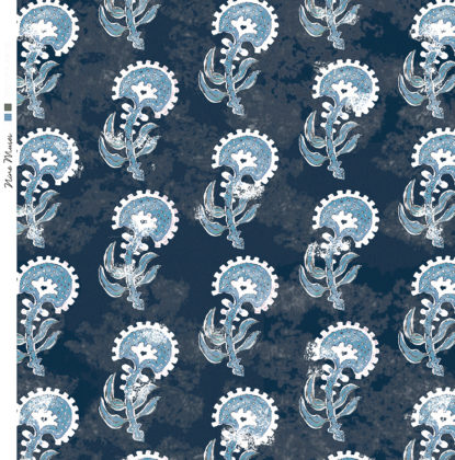Linen fabric printed with a hand painted floral plant design repeat pattern in pale blue on navy background