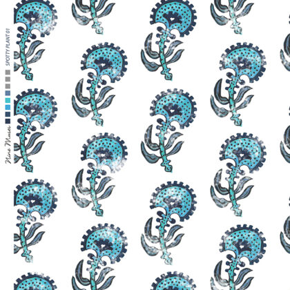 Linen fabric printed with a hand painted floral plant design repeat pattern in blue and turquoise on white background