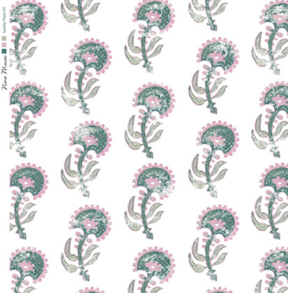 Linen fabric printed with a hand painted floral plant design repeat pattern in pink on white background