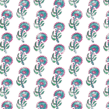 Linen fabric printed with a hand painted floral plant design repeat pattern in turquoise pink and green on white background