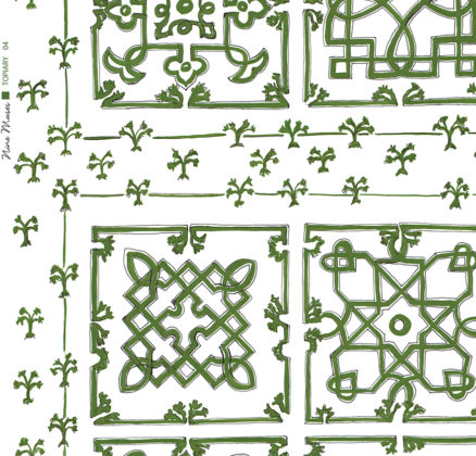 Linen fabric printed with traditional decorative square design like a garden plan repeat pattern in dark olive green on white background