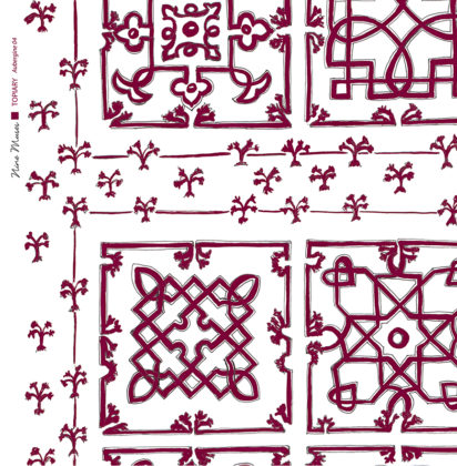 Linen fabric printed with traditional decorative square design like a garden plan repeat pattern in aubergine dark plum red on white background
