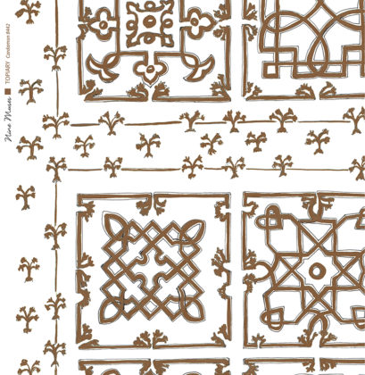 Linen fabric printed with traditional decorative square design like a garden plan repeat pattern in cardamom brown on white background