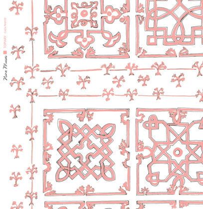 Linen fabric printed with traditional decorative square design like a garden plan repeat pattern in pale pink on white background