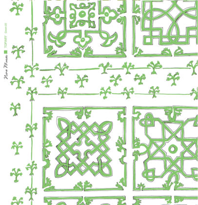 Linen fabric printed with traditional decorative square design like a garden plan repeat pattern in mid green on white background