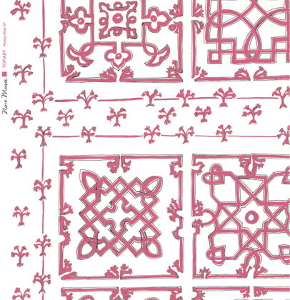 Linen fabric printed with traditional decorative square design like a garden plan repeat pattern in mid pink on white background
