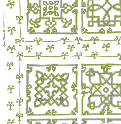 Linen fabric printed with traditional decorative square design like a garden plan repeat pattern in light olive green on white background