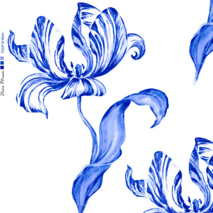 Linen fabric printed with hand painted large design of tulip flower and leaf repeat pattern in blue on white background