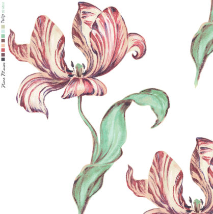 Linen fabric printed with hand painted large design of tulip flower and leaf repeat pattern in pink and mint green on white background