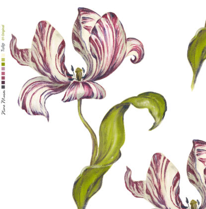 Linen fabric printed with hand painted large design of tulip flower and leaf repeat pattern in pink and green on white background