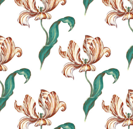 Linen fabric printed with hand painted large design of tulip flower and leaf repeat pattern in pink orange and teal on white background