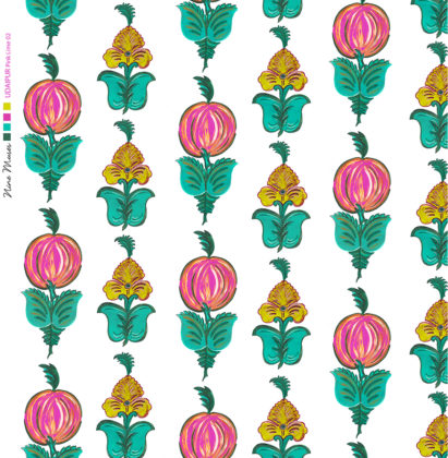 Linen fabric printed with hand painted floral design repeat pattern in pink and lime green on white background