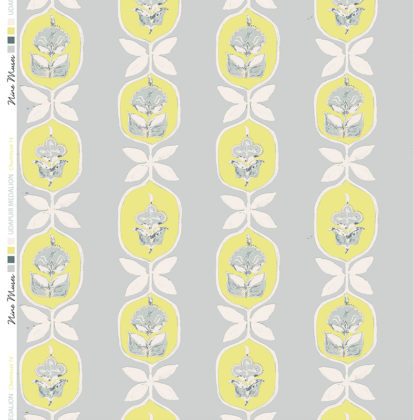 Linen fabric printed with hand painted floral stripe medallion design repeat pattern in chartreuse on grey background