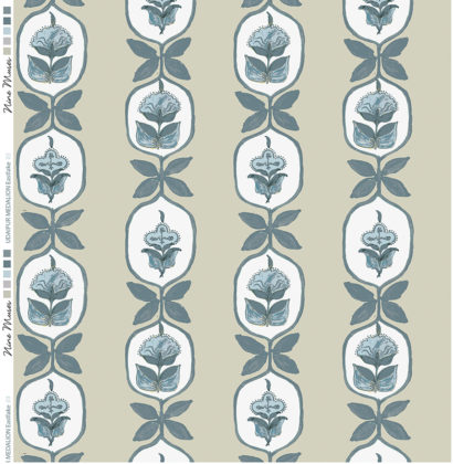 Linen fabric printed with hand painted floral stripe medallion design repeat pattern in pale blue green on taupe background