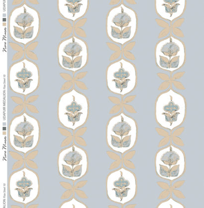 Linen fabric printed with hand painted floral stripe medallion design repeat pattern in flax on pale grey background