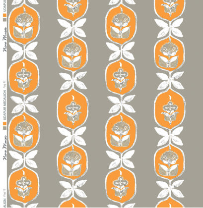 Linen fabric printed with hand painted floral stripe medallion design repeat pattern in orange on fog brown grey background