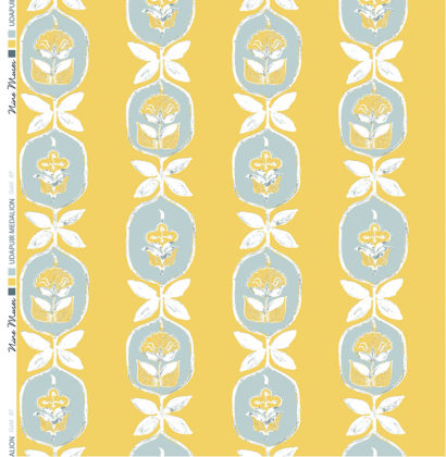 Linen fabric printed with hand painted floral stripe medallion design repeat pattern in pale yellow and grey on gold background