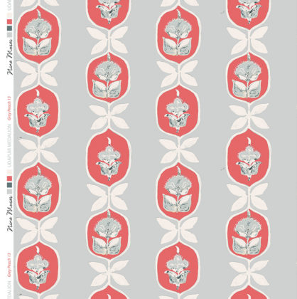 Linen fabric printed with hand painted floral stripe medallion design repeat pattern in peach on grey background