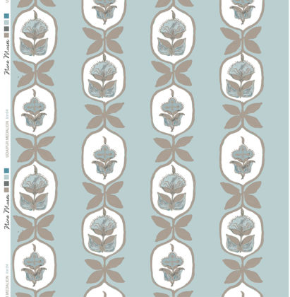 Linen fabric printed with hand painted floral stripe medallion design repeat pattern in taupe on pale ice blue background