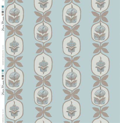 Linen fabric printed with hand painted floral stripe medallion design repeat pattern in taupe on duckegg green blue background