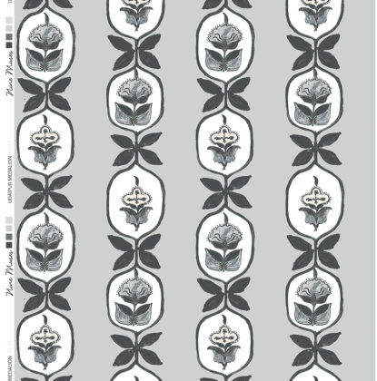 Linen fabric printed with hand painted floral stripe medallion design repeat pattern in charcoal on pale grey background
