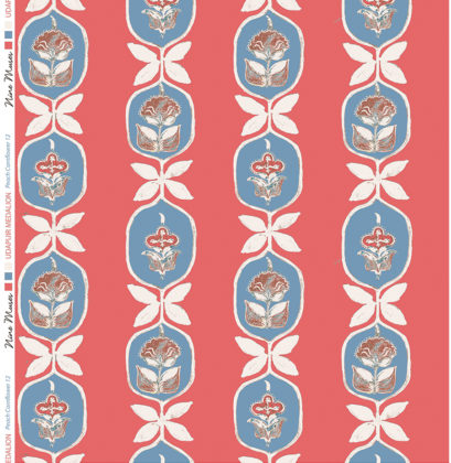 Linen fabric printed with hand painted floral stripe medallion design repeat pattern in cornflower blue on dark peach background
