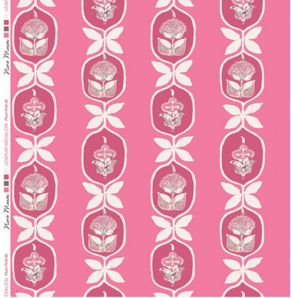 Linen fabric printed with hand painted floral stripe medallion design repeat pattern in pinks on bright pink background