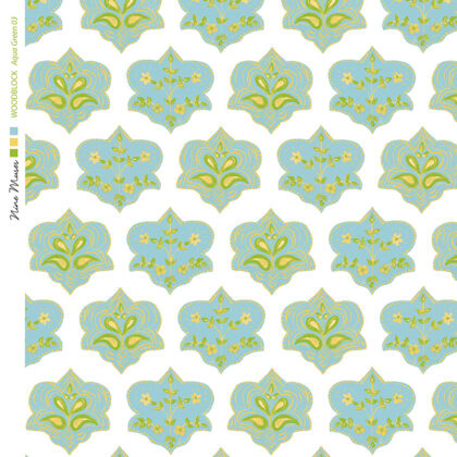 Linen fabric printed with hand painted traditional small repeat floral block design in aqua and green on white
