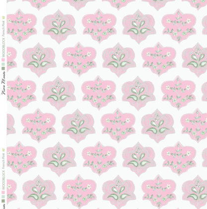 Linen fabric printed with hand painted traditional small repeat floral block design in pink and grey on white