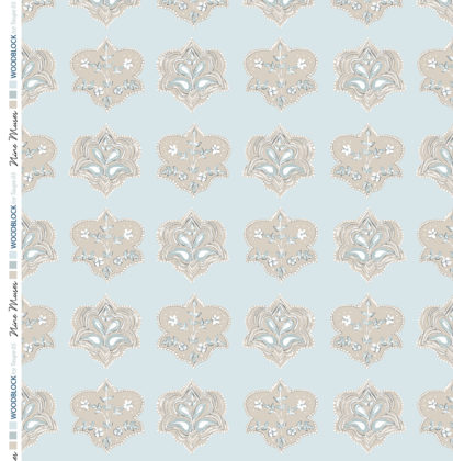 Linen fabric printed with hand painted traditional small repeat floral block design in taupe on pale ice blue