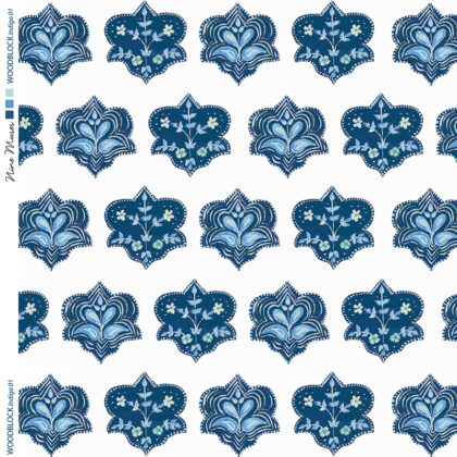 Linen fabric printed with hand painted traditional small repeat floral block design in indigo blue on white