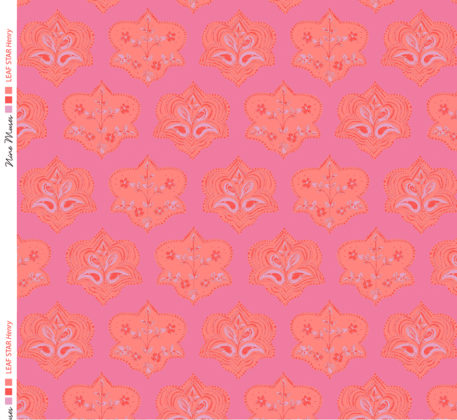 Linen fabric printed with hand painted traditional small repeat floral block design in orange on pink