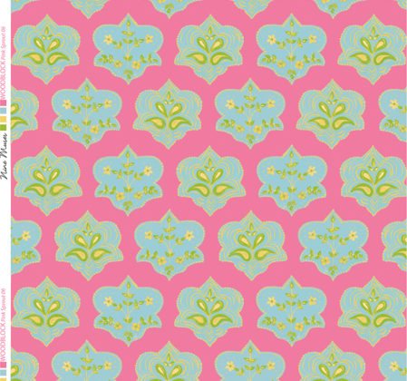 Linen fabric printed with hand painted traditional small repeat floral block design in green blue on pink