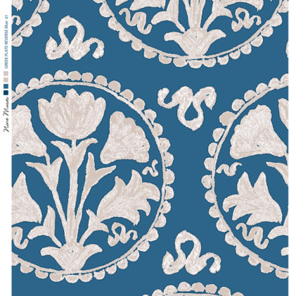 Linen fabric printed design of traditional circle floral pattern in neutral on blue background