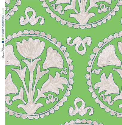 Linen fabric printed design of traditional circle floral pattern in neutral on green background