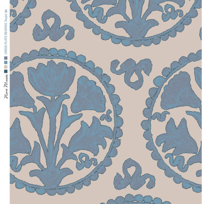Linen fabric printed design of traditional circle floral pattern in blue on taupe background
