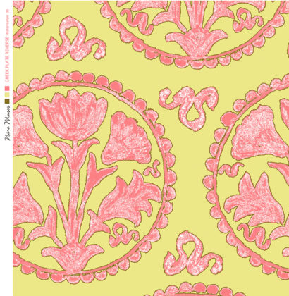 Linen fabric printed design of traditional circle floral pattern in pink on chartreuse background