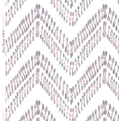 Linen fabric printed with ikat zigzag repeat design with pink and grey pattern on white background