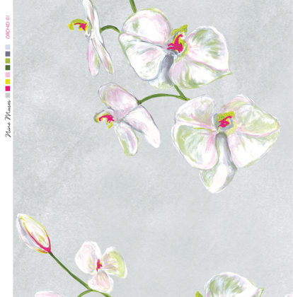 Linen fabric printed with a delicate hand painted floral orchid design repeat pattern in white on pale grey background