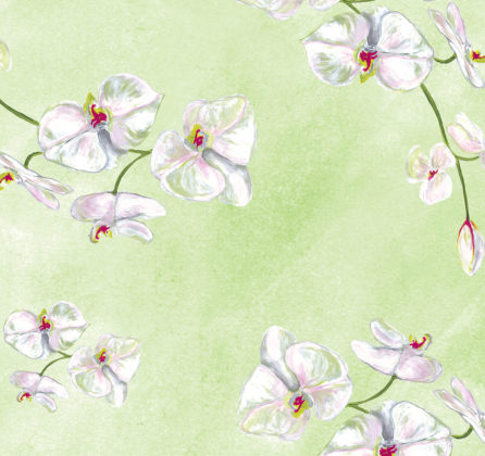 Linen fabric printed with a delicate hand painted floral orchid design repeat pattern in white on pale green background