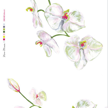 Linen fabric printed with a delicate hand painted floral orchid design repeat pattern in green pink white on white background