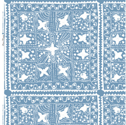 Linen fabric printed with stripe and diamond quilt repeat pattern in white on cornflower blue background