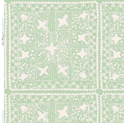 Linen fabric printed with stripe and diamond quilt repeat pattern in white on pale mint green background