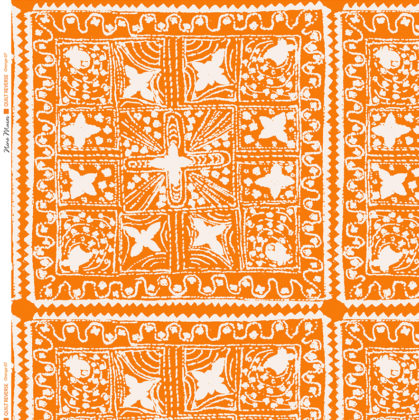Linen fabric printed with stripe and diamond quilt repeat pattern in white on orange background
