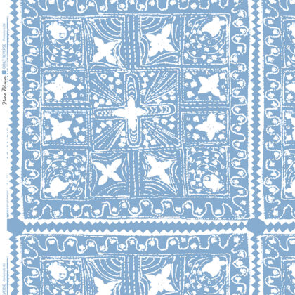 Linen fabric printed with stripe and diamond quilt repeat pattern in white on pale periwinkle background