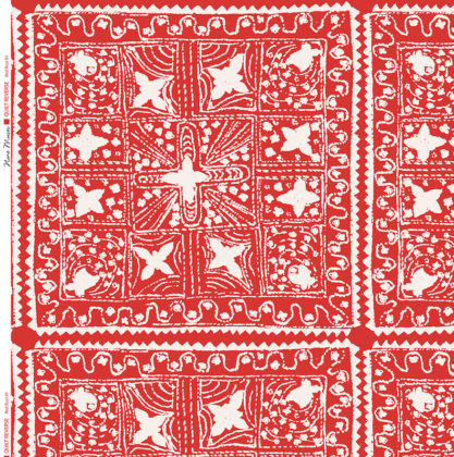 Linen fabric printed with stripe and diamond quilt repeat pattern in white on red rust background