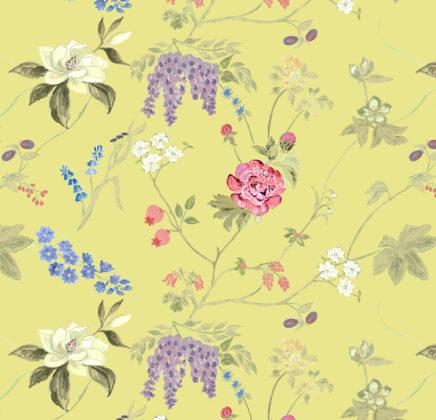 Linen fabric printed with delicate repeat pattern in colourful floral design
