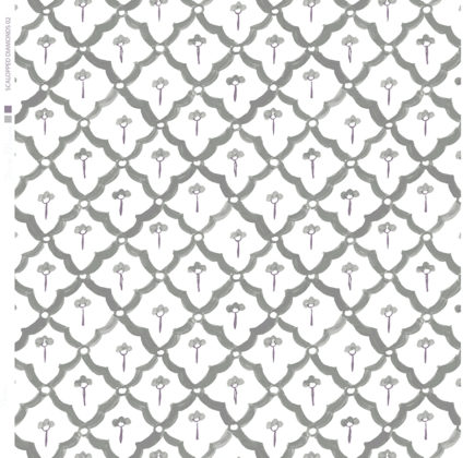 Linen fabric printed with a hand painted scalloped diamond design repeat pattern in grey on white background
