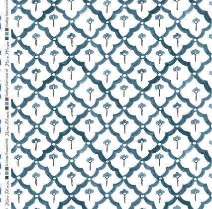Linen fabric printed with a hand painted scalloped diamond design repeat pattern in indigo blue on white background
